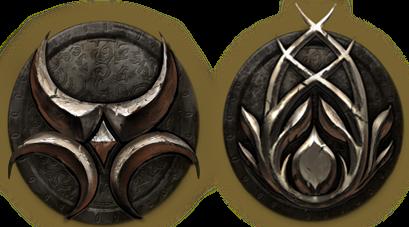 Хаджитский символ изображает Две Луны и когти кошачьего народа, а босмерский, действительно, Зелёный Пакт.